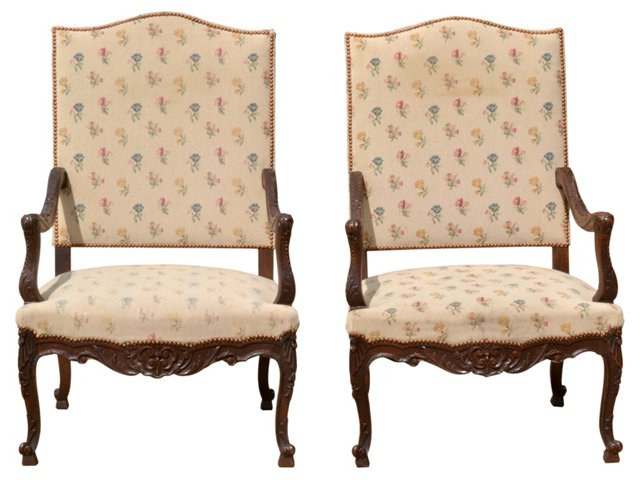 Antique Louis XV-Style Armchairs, Pair