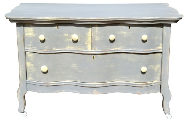 Antique Painted Serpentine-Front Chest