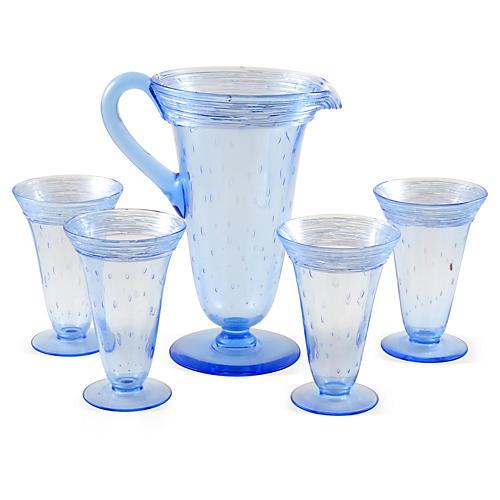 Pitcher & 4 Glasses, Attr. to Steuben