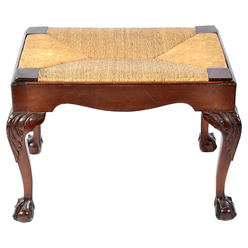 Chippendale-Style Rush & Walnut Bench