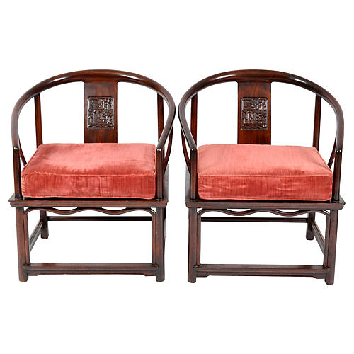 1900s Chinese Rosewood Armchairs, Pr