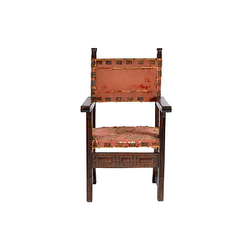 Early-18th-C. Spanish Walnut Armchair