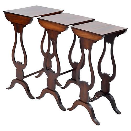 Georgian Mahogany Nesting Tables, S/3