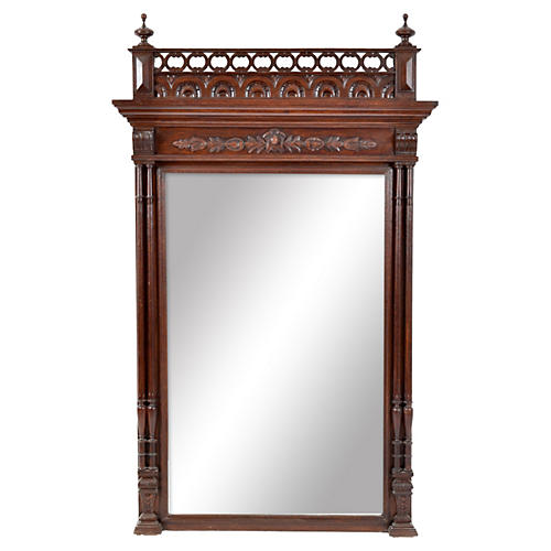 19th-C. French Henry II Beveled Mirror