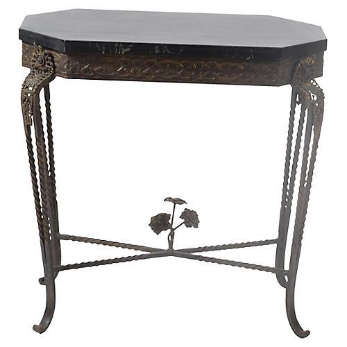 1920's Oscar Bach Hexagon Bronze Table