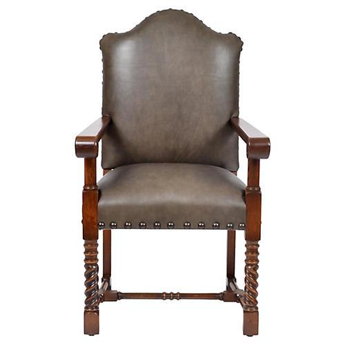 19th-C. Oak Armchair