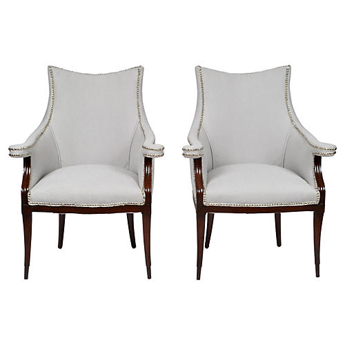 French Art Deco Armchairs, Pair