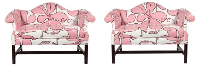 Pink Floral Camelback Settees, Pair