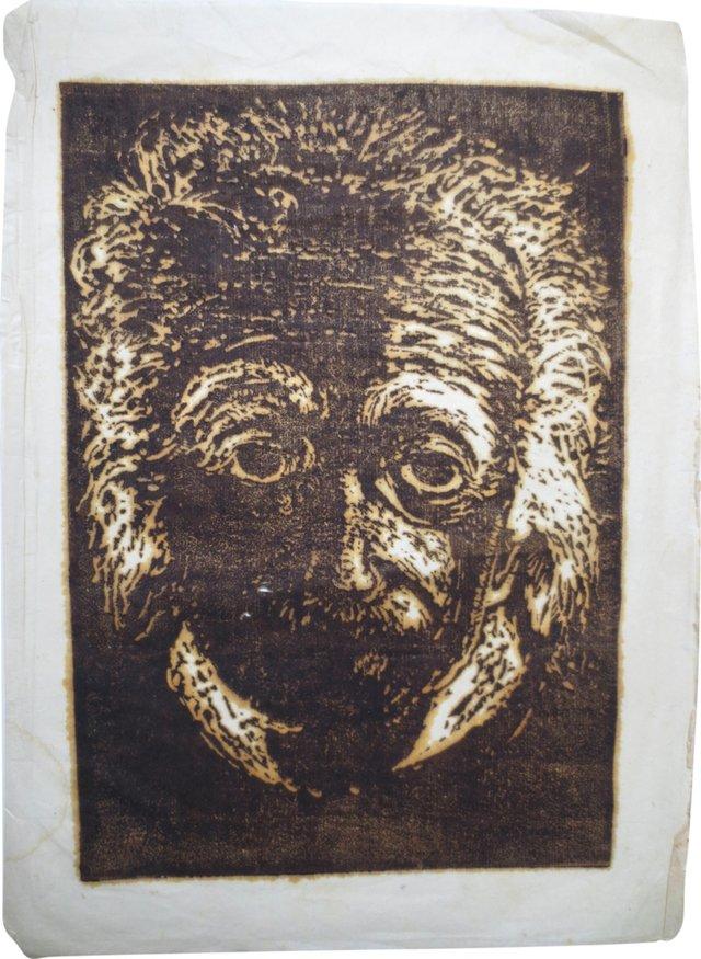 Albert Einstein Woodblock