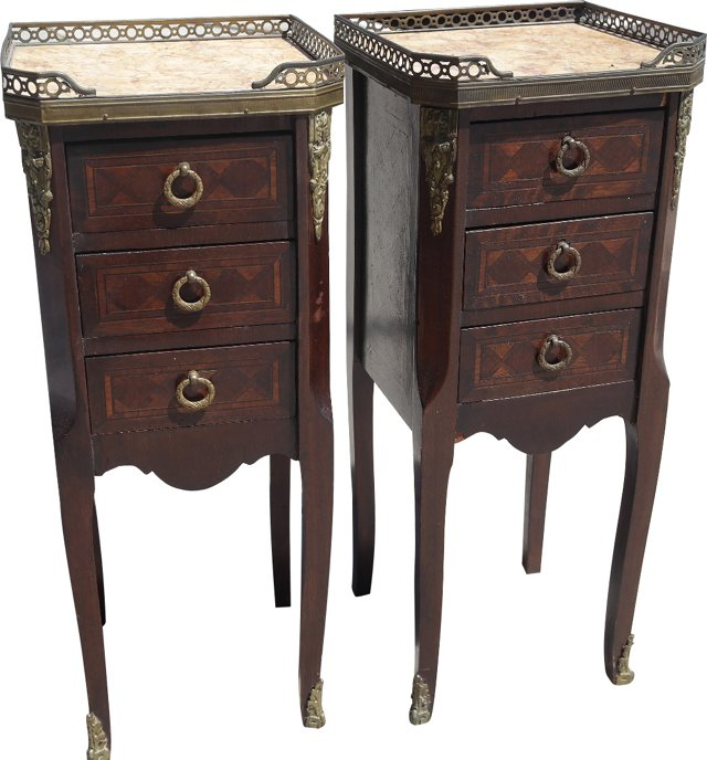 19th-C.  French Marble-Top Tables, Pair