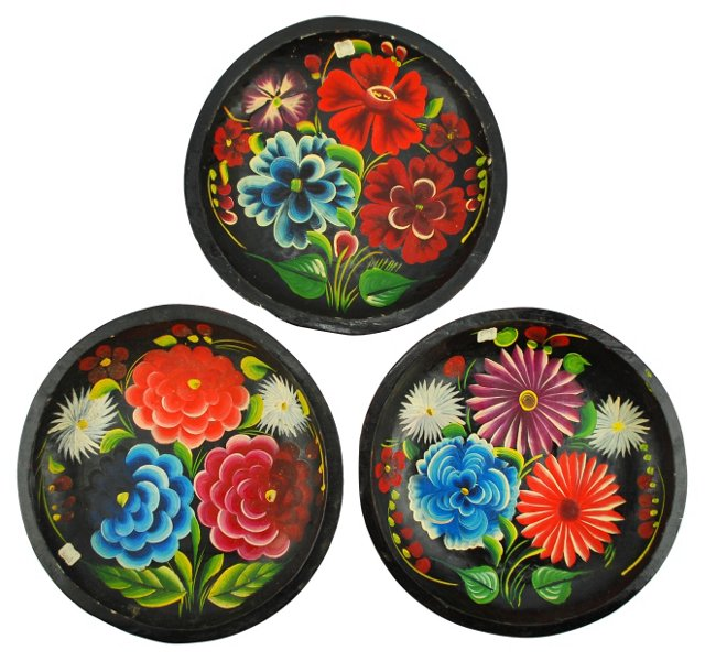 Hand-Painted Mexican  Bateas, S/3
