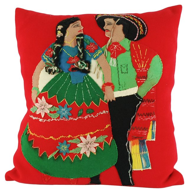 Red Pillow w/ Mexican Appliqué
