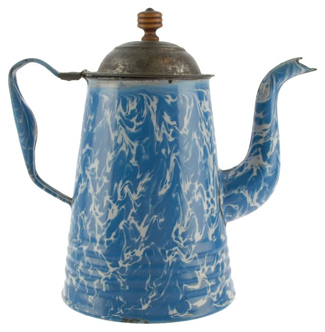 Antique Blue Agateware Coffee Pot