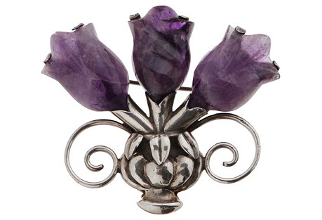 William Spratling Amethyst Tulip Brooch