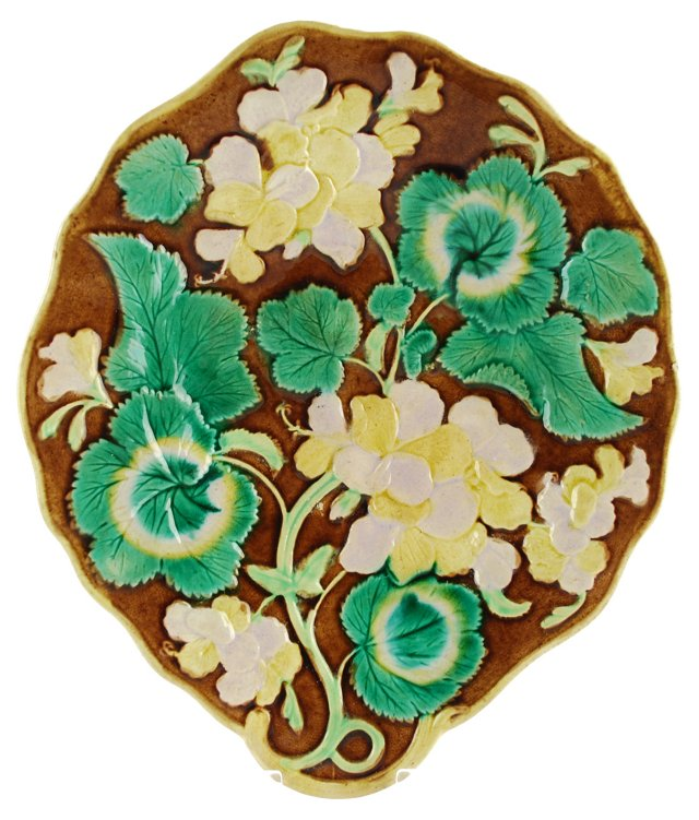 Antique Majolica Floral Platter Tray