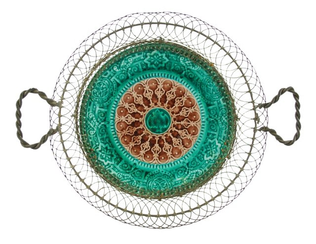 Majolica Plate With Early Wire  Hanger