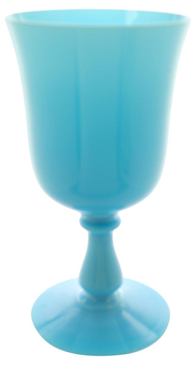 Antique French Blue Glass Goblet Vase