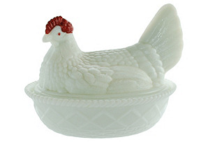 Covered Milk Glass Chicken