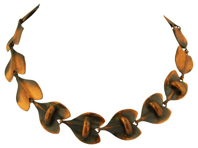 Modernist Copper Hearts Necklace
