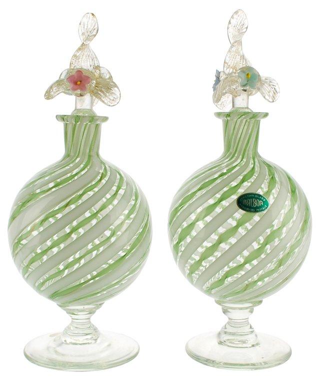Venetian Glass Perfume Bottles, Pair