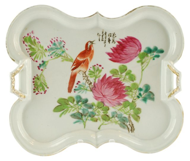 Antique Chinese Porcelain Bird Wall Tray