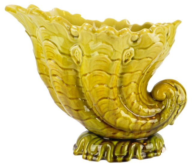 Antique Leeds English Pottery Cornucopia