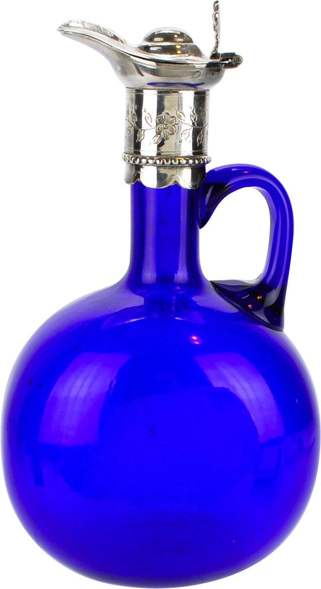 Antique Cobalt Glass & Sterling Decanter