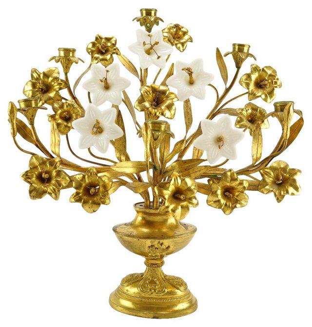Brass Candelabrum w/ Glass Flowers