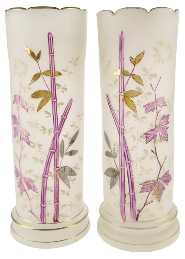 Bamboo-Enameled Blown Glass Vases, Pair
