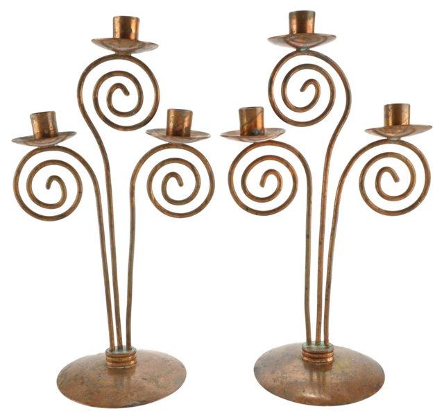 Art Deco Copper Candelabra, Pair
