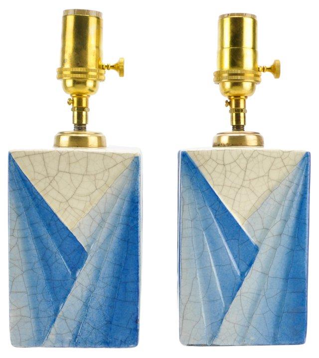 French Art Deco Ceramic Lamps Pair