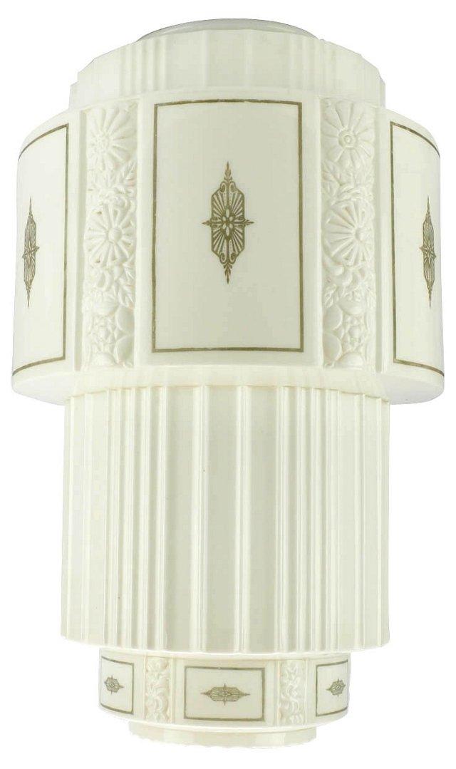 Art Moderne White Phoenix Glass Shade