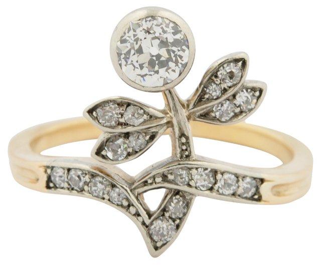 15K Gold & Diamond Flower Ring
