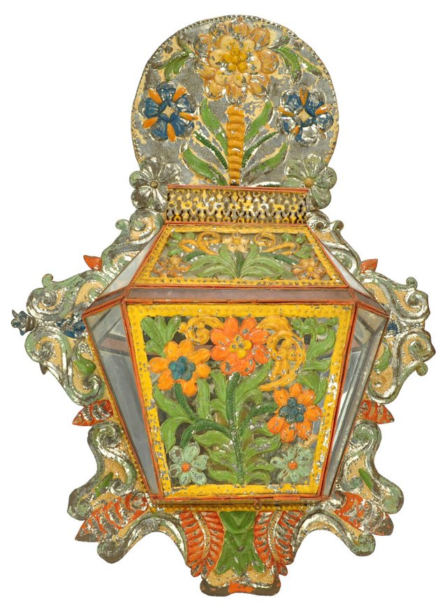 Antique Hand-Painted Tin Candle Sconce