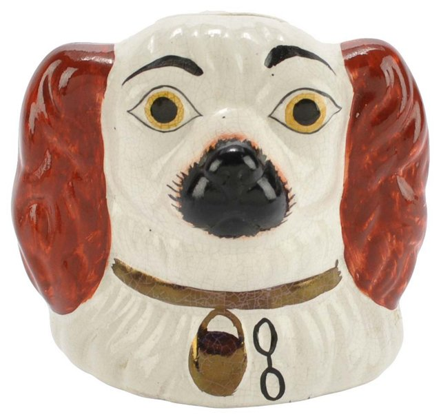 Antique Staffordshire Red Pup Money Box