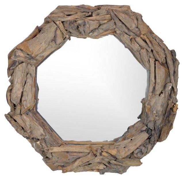 Octagonal Driftwood  Mirror