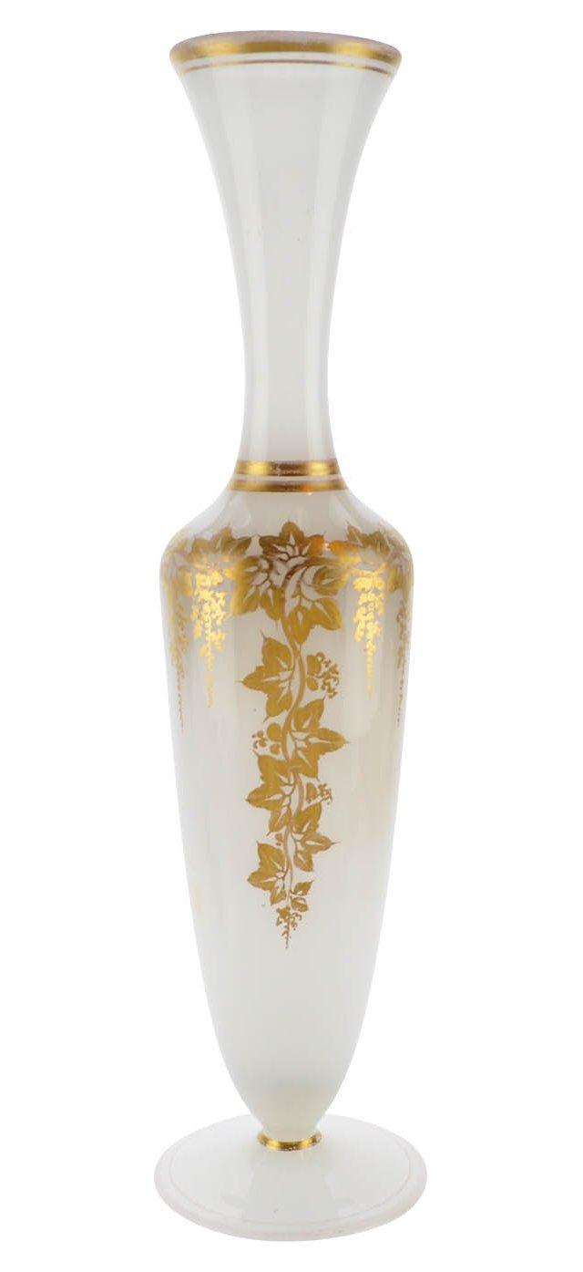 Opaline Glass Gilt Vase