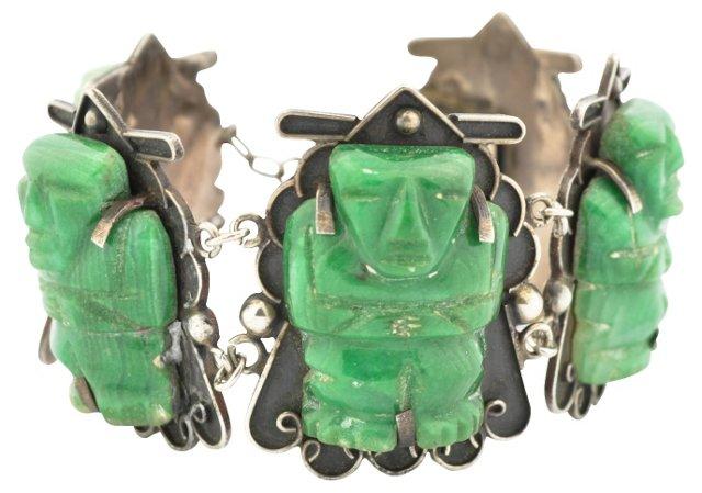 Sterling Mexican Jade Bracelet