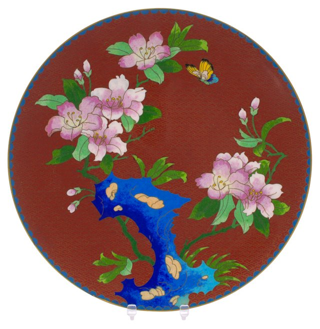 Chinese Enamel Butterfly Wall Charger