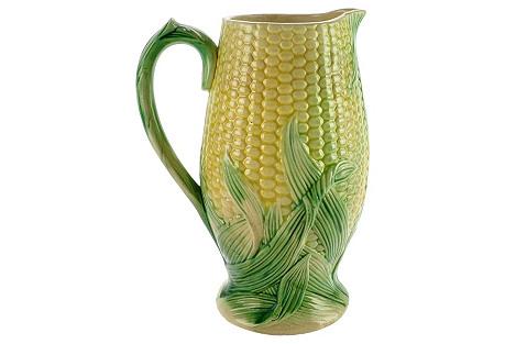 Antique Majolica Corn     Pitcher