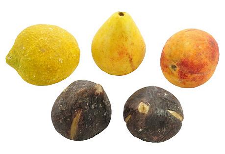 Antique Alabaster Fruit, Set of Five