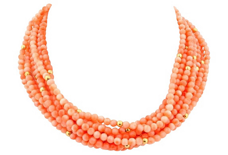 Five-Strand Natural Coral Necklace