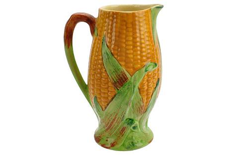Staffordshire Majolica Corn Pitcher