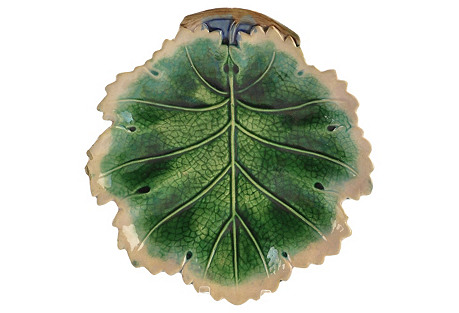Antique Etruscan Majolica Leaf Tray