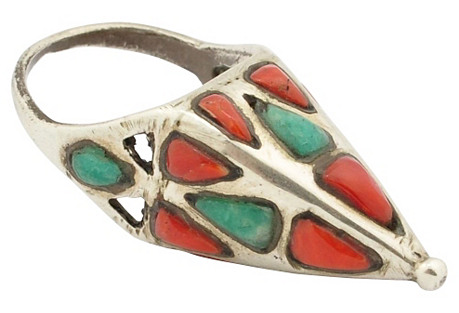 Berber Coral & Turquoise Ring