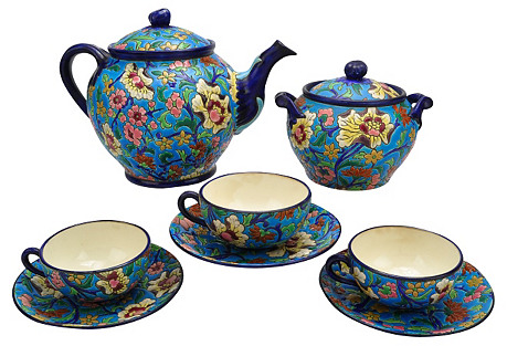 France Antique Longwy Tea Svc. for 3