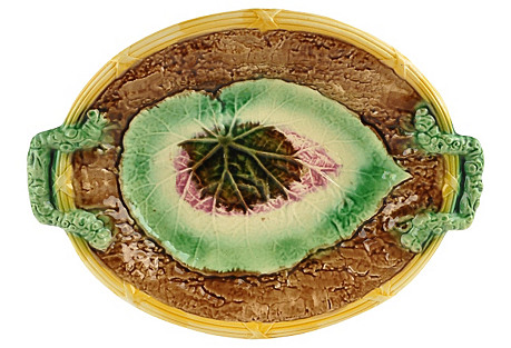 19th-C. English Majolica Begonia Tray