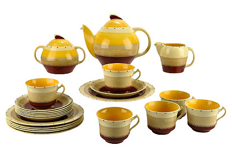 C.1930 Susie Cooper Tea Set, Svc. for 6