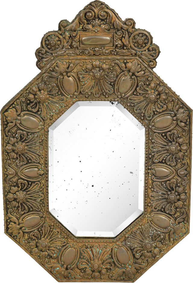 Belgian Antique Repoussé Brass Mirror