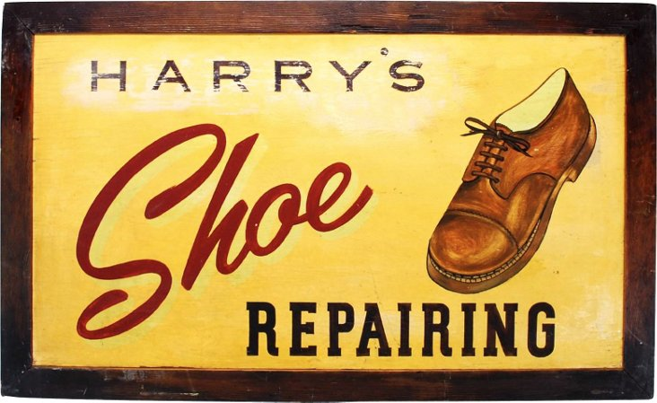 Folk Art Shoe Repair Sign